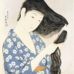 painting of a woman in a kimono brushing her hair